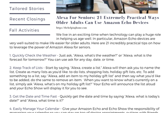 Alexa for Seniors - Transitional Times Newsletter