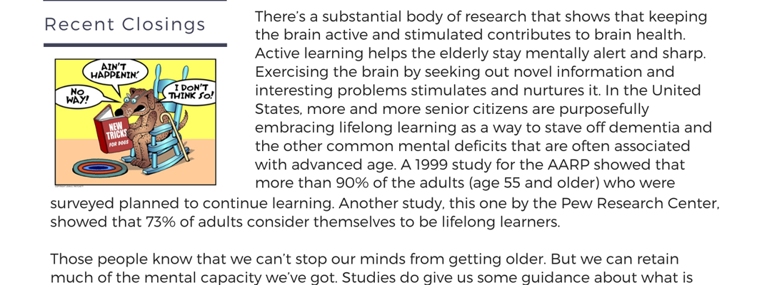 Lifelong Learning - Transitional Times Newsletter
